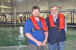 Jeff Steynor during Rockland Scientific testing at FloWave