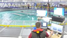 Tidal turbine array project during testing at the FloWave Ocean Energy Research Facility at the University of Edinburgh